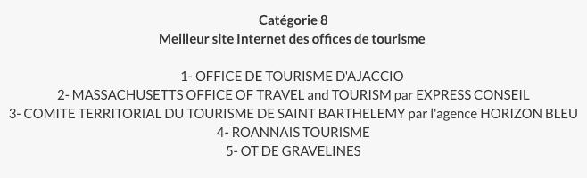 résultat prix communication office de tourisme